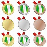 nigeria vector flag in medal shapes