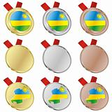 rwanda vector flag in medal shapes