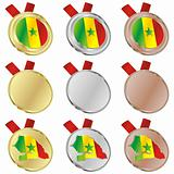 senegal vector flag in medal shapes