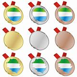 sierra leone vector flag in medal shapes