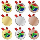 south africa vector flag in medal shapes