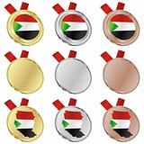 sudan vector flag in medal shapes