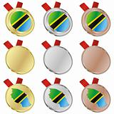 tanzania vector flag in medal shapes