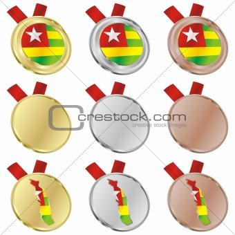togo vector flag in medal shapes