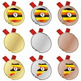 uganda vector flag in medal shapes