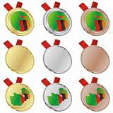 zambia vector flag in medal shapes