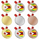 zimbabwe vector flag in medal shapes