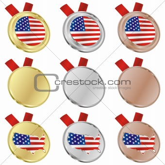 america vector flag in medal shapes