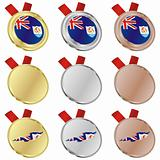 anguilla vector flag in medal shapes