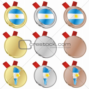 argentina vector flag in medal shapes