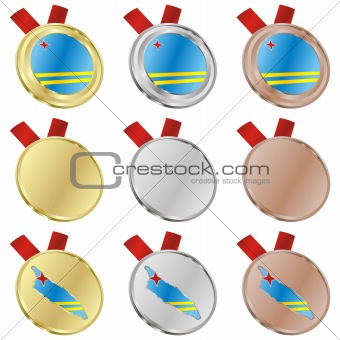 aruba vector flag in medal shapes