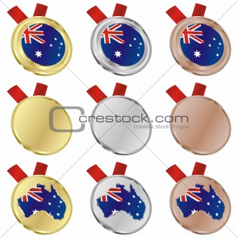 australia vector flag in medal shapes