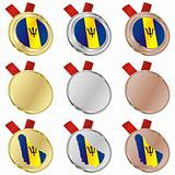 barbados vector flag in medal shapes
