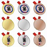 belize vector flag in medal shapes