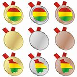 bolivia vector flag in medal shapes