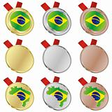 brazil vector flag in medal shapes