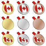 canada vector flag in medal shapes