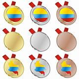 colombia vector flag in medal shapes