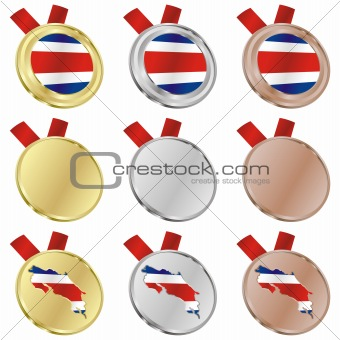 costa rica vector flag in medal shapes