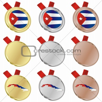 cuba vector flag in medal shapes