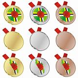 dominica vector flag in medal shapes
