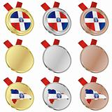 dominican republic vector flag in medal shapes