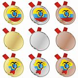ecuador vector flag in medal shapes