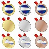 el salvador vector flag in medal shapes