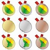 french guyana vector flag in medal shapes