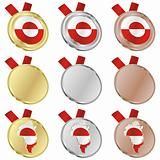 greenland vector flag in medal shapes