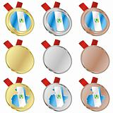 guatemala vector flag in medal shapes