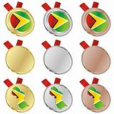 guyana vector flag in medal shapes