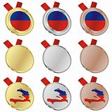 haiti vector flag in medal shapes