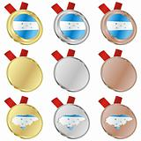 honduras vector flag in medal shapes