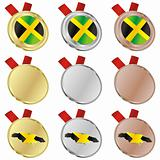 jamaica vector flag in medal shapes