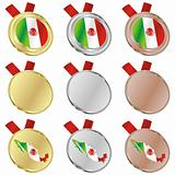 mexico vector flag in medal shapes