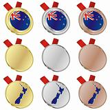 new zealand vector flag in medal shapes