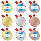 nicaragua vector flag in medal shapes