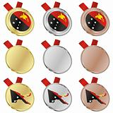 papua new guinea vector flag in medal shapes