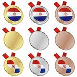 paraguay vector flag in medal shapes