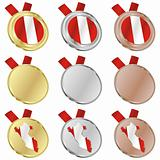 peru vector flag in medal shapes