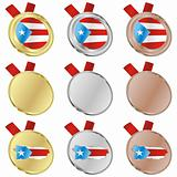puerto rico vector flag in medal shapes