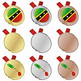 saint kitts and nevis vector flag in medal shapes