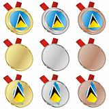 saint lucia vector flag in medal shapes