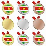 suriname vector flag in medal shapes
