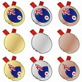 tasmania vector flag in medal shapes