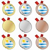 uruguay vector flag in medal shapes