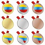 venezuela vector flag in medal shapes