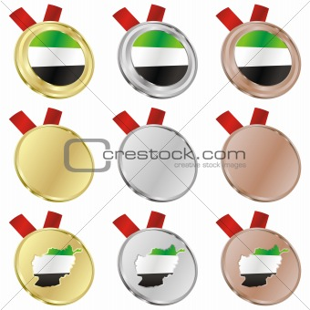 afghanistan vector flag in medal shapes