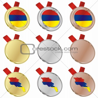 armenia vector flag in medal shapes